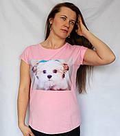 Женская футболка с сублимационным рисунком на груди