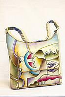 Женская сумка из натуральной кожи с росписью