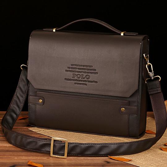 Мужской кожаный портфель Polo. Модель - 423