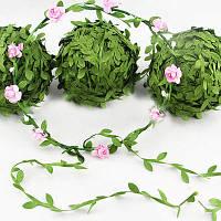 Тесьма (лента) с листочками (зеленая)