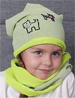 Шапка трикотажная для девочки без хомута арт. 98-982016(50-52)