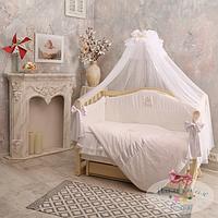 """Королевский комплект в детскую кроватку """" Baby chic"""" жемчужный (натуральный наполнитель - ekotton), фото 1"""