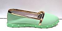 Балетки женские кожаные с шипами салатовые  So0087