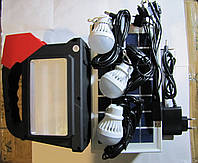 Аккумуляторный ручной фонарь Yajia YJ-1903T на солнечной батарее, usb, MP3, FM радио, 3 лампочки, solar system