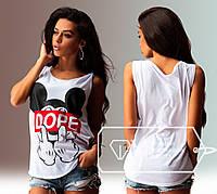 """Стильная женская свободная футболка до больших размеров 059 """" Mickey DOPE"""" в расцветках"""