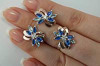 Комплект украшений из серебра с золотыми пластинами и голубыми фианитами