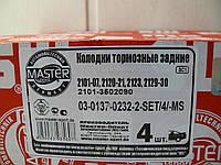 Колодка тормозная ВАЗ 2101 задняя (комплект 4шт.)  для барабанных тормозов (пр-во MASTER SPORT)