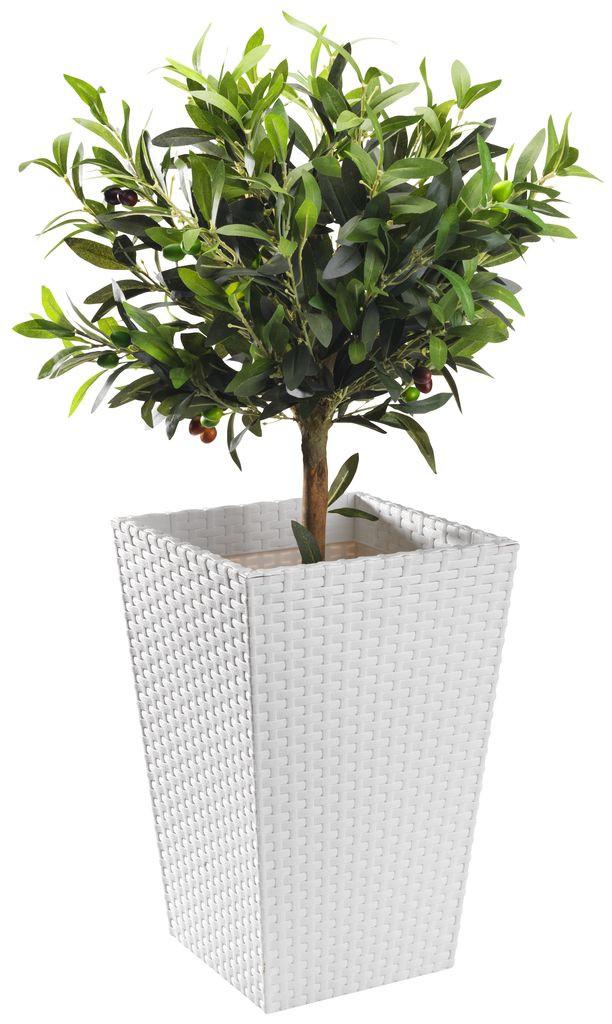 Горшок для растений из ротанга TEIS. Белый цвет