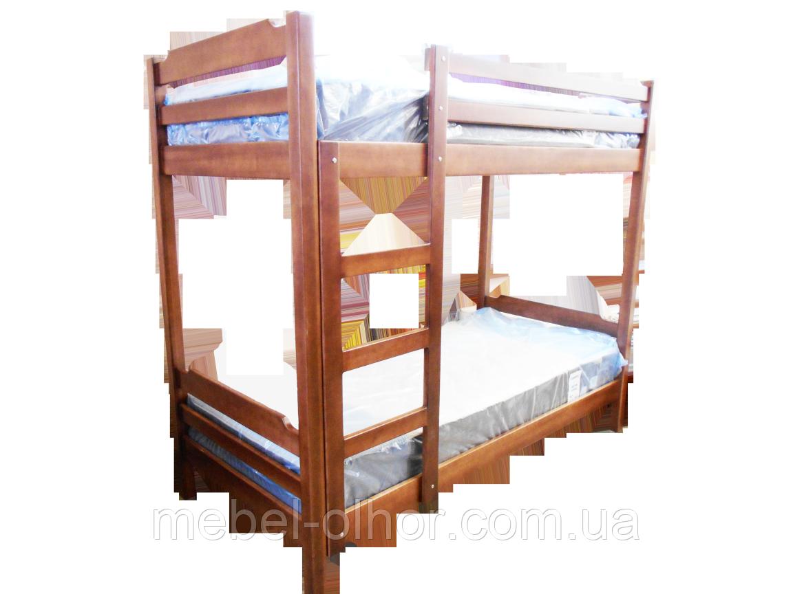 Двухьярусная кровать из дерева в белом цвете