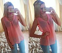 Блузка шифоновая без рукавов персик 076