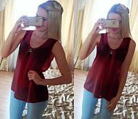 Блузка шифоновая без рукавов бордо 076