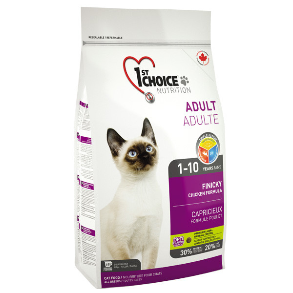 Корм для привередливых и активных котов, 2,72 кг / 1st Choice Adult Finicky Chicken / курица