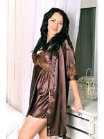 Шелковый атласный комплект, размеры 40 - 50. Комплект: ночная сорочка на бретелях и халатик - кимоно. Украина.