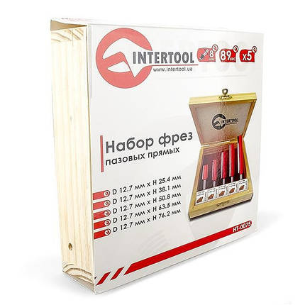 Набор фрез пазовых прямых в деревянном кейсе INTERTOOL HT-0075, фото 2