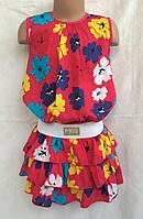 Платье летнее для девочки 6-12 лет,Резинка цветы красное
