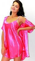 Комплект рубашка и халатик шелк, Комплект: ночная сорочка на бретелях и халатик - кимоно, цвет: малина.