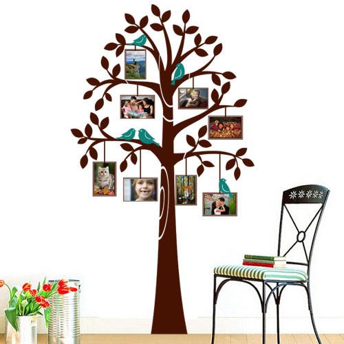 Интерьерная наклейка на обои Дерево с рамками 2 (виниловая, самоклеющаяся, декор стен, пленка оракал