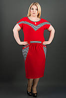 Яркий женский сарафан батал Джекки (красный), фото 1