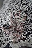 Ткань  Гипюр серебряно-черный.