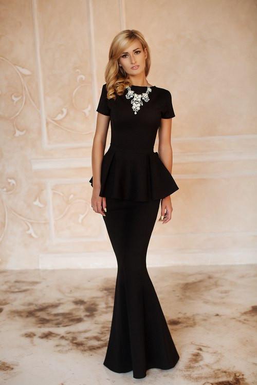 c20a565b2f0 Красивое платье-русалка с баской в пол черное - Интернет-магазин