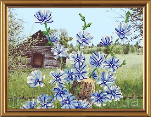 Новая Слобода БИС3111 Голубые цветочки, схема под бисер