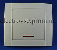Выключатель одинарный с подсветкой (керамика)