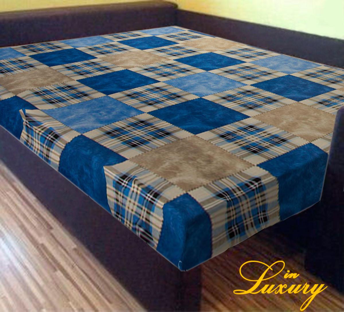 """Простирадло на гумці 180х200 см """"Шотландка синя"""" in Luxury™ 32007"""
