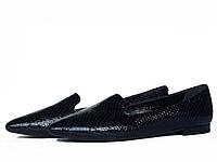 Остроносые туфли лоферы из фактурной темно-синей кожи