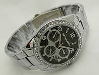 Женские часы Michael Kors цвет серебро, индикация даты, черный циферблат, cristal