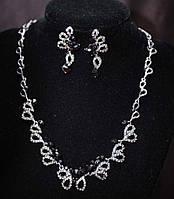 Розкішний комплект біжутерії кольє і сережки з кристалами
