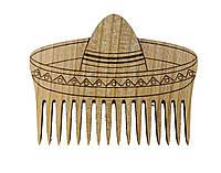 """Гребень для бороды   """"Самбреро"""" из натурального дерева"""