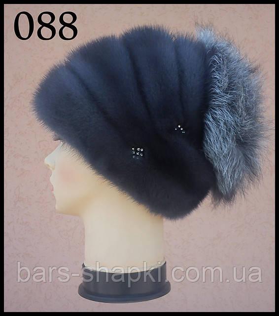 Женская  шапка норковая с чернобуркой