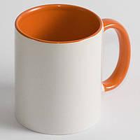 Чашка сублимационная цветная внутри и ручка ОРАНЖЕВАЯ