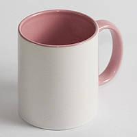 Чашка сублимационная цветная внутри и ручка РОЗОВАЯ