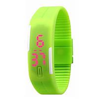 Спортивные LED часы зелёные