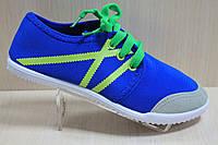 Синие подростковые кеды, мокасины для мальчика, спортивная удобная, текстильная обувь р.32