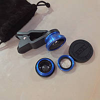 Объектив fisheye (фишай) 180°для телефона 3 шт набор Синий