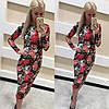 Стильное платье миди цветы