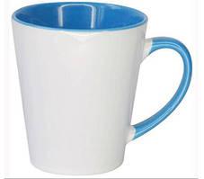 Чашка сублимационная LATTE цветная внутри и ручка ГОЛУБАЯ