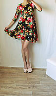 """Платье """"Трапеция""""  принт цветы, фото 1"""