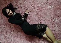 Красивое трикотажное платье миди с широким французским кружевом 3цвета, фото 1
