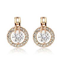 Сережки ОДЕТТ ювелірна біжутерія золото 18К декор кристали Swarovski