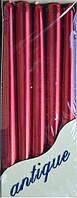 Свеча  парафиновая 10шт  цвет красный металлик