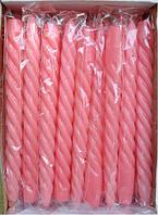 Свеча розовая декоративная витая (1шт)