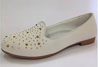 Туфли лоферы светлые для девочек, подростковые  ТОМ.М. 32 33 35 36, фото 1