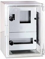 Шафа удароміцна з АБС-пластика e.plbox.300.400.165.1f.15m.tr IP65 з проз. дв. p  панеллю під 1ф ліч та 15 моду