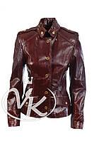 Коричневая кожаная куртка женская (размер XS)