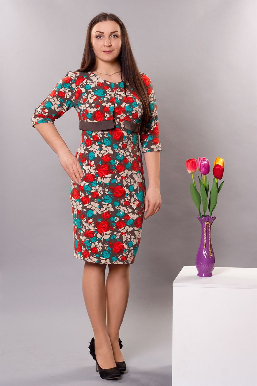 Стильное женское платье с имитацией болеро