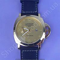 Часы Panerai Luminor GMT Ceramica B151 мужские с календарем золотистые с золотым циферблатом на ремешке
