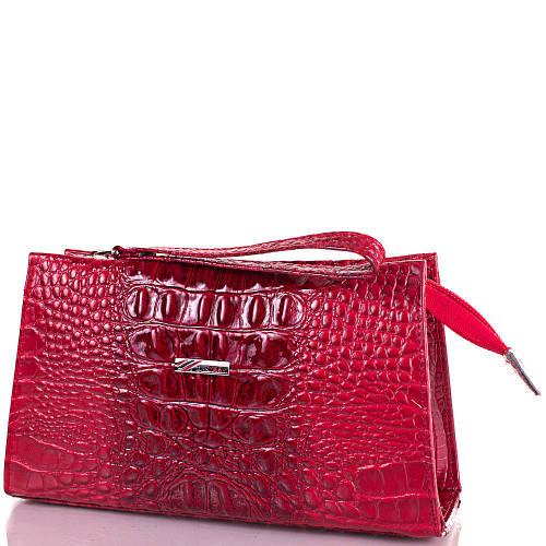Современная  женская косметичка из натуральной кожи DESISAN SHI065-1KRLak красный